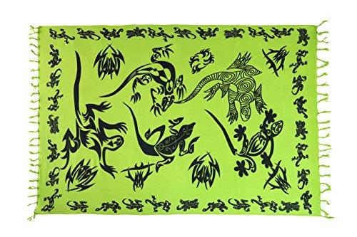 Ciffre Sarong Pareo Tuch Strandtuch Wickelrock Lungi Dhoti Wickeltuch Gecko Neon Grün Schwarz + Schnalle