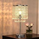 delle Made Rain Drop Argent Cristal Lampe de table pour chambre à coucher, salon, chambre une fille ou comme cadeau de mariage