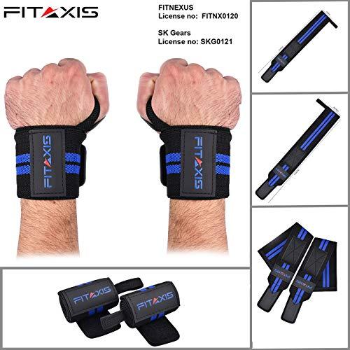 FITAXIS Handgelenk Bandagen | Wrist Wraps für Fitness, Bodybuilding, Kraftsport & Crossfit Bands. (Black/Blue, 18
