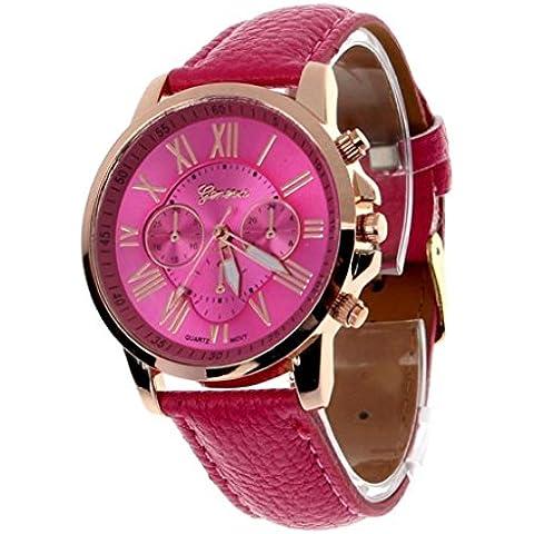 vovotrade Las nuevas mujeres de la moda de Ginebra Numeros romanos simil cuero analogico reloj de pulsera de cuarzo Rosa caliente