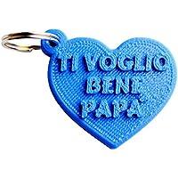 """Portachiavi Cuore """"Ti voglio bene papà"""" in stampa 3D - Idea regalo, festa del papà"""