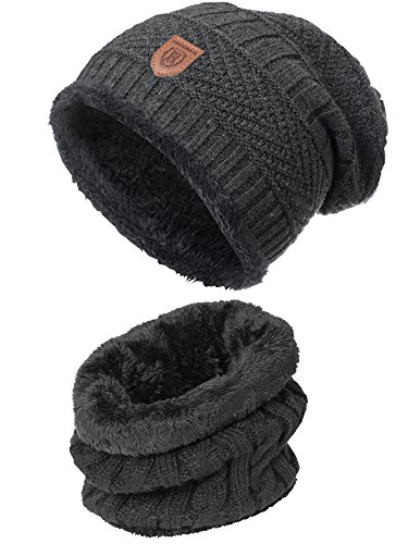 INDICODE Herren Siracusa Hoddie Wintermütze Warm Beanie Strickmütze inkl. Schal mit Fleecefutter Charcoal Mix One Size