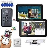 """Xianxian88 Campanello Video Wireless, 9""""2 Monitor cablato/Wireless, citofono Telefono Campanello, Telecamera cablata 1000TVL, Adatto per Villa, casa, Campanello d'ufficio"""