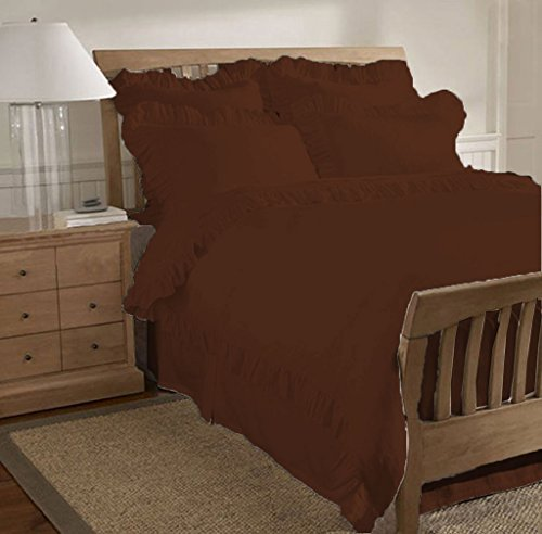 SCALABEDDING 600 TC aus ägyptischer Baumwolle, 3-teilig, Rüschen am Saum, Bettbezug-Set California, Kingsize, Schokolade