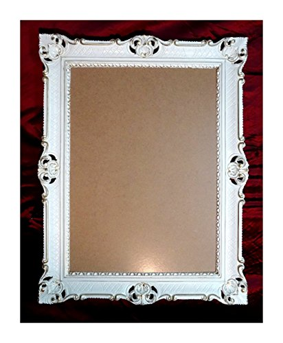 Bilderrahmen Weiß-Gold Dualcolor 90x70 cm mit Glasscheibe Hochzeitsrahmen Selfie Fotorahmen Foto...