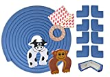 Ecken und Kantenschutz – 6 Meter Kantenschutzprofil und 8x Eckenschutz – Sicherheit für Babys und Kinder – selbstklebender Kindersicherheit Schaumstoff Stoßschutz – inklusive 2 Gratis Türstopper (Blue)