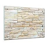 Bilderdepot24 Memoboard 60 x 40 cm, Textur - Textur Mauerwerk I - Memotafel Pinnwand - Stein - Mauer - Steinmauer - Wand - Gestein - beige - Küche - Esszimmer - Glasbild - Handmade - magnetisch