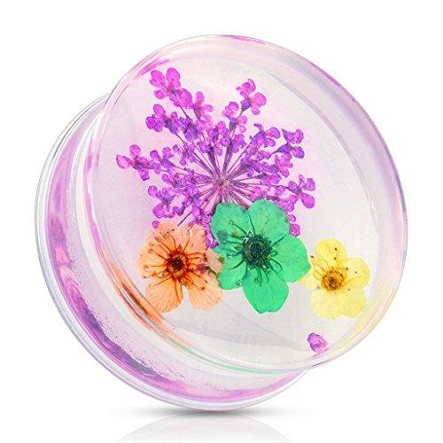 Piercing plug fleur pourpre en acrylique Taille 22 mm