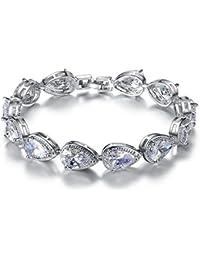 MASOP Swarovski Element Teardrop Cubic Zirconia Tennis Bracelet for Women