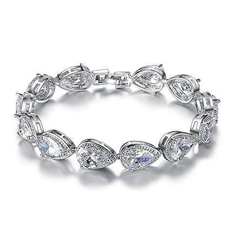 MASOP Silber Armband Braut Weiß Armkette Tropfen Zirkonia CZ Bling Hochzeitsschmuck für Brautjungfer