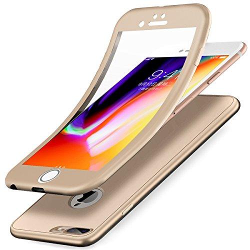 iPhone 8 Plus Hülle,iPhone 7 Plus Hülle,Full-Body 360 Grad Panzerglas Schutzfolie TPU Silikon Hülle Handyhülle Tasche Front Back Double Beidseitiger Cover Schutzhülle für iPhone 8 Plus/7 Plus,Gold