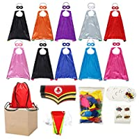 Super Hero Party Supply Favors Set Include Super Hero Capes and Mask Stickers Bracelets Balloons Banner Drawstring Backpacks Decoration Kid
