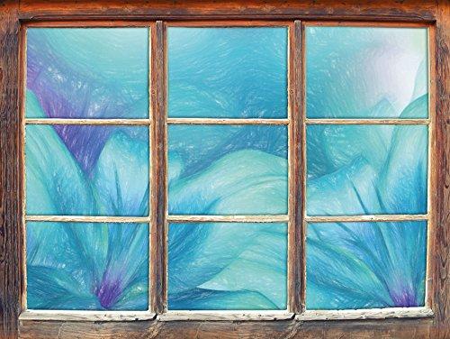 türkise Lilien Kunst Buntstift Effekt Fenster im 3D-Look, Wand- oder Türaufkleber Format: 62x42cm,...