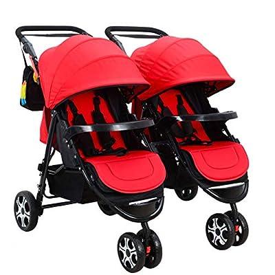 Niñito El Cochecito de bebé Gemelo del Carro de bebé, Gemelos Dobles Desmontables Puede Sentarse Cochecito Plegable Plano, A Carro
