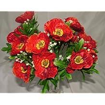3x hermosa seda Artificial rojo amapolas bush–5cabezas cada uno con follaje–Home/cottage GArden tumba