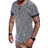 Herren T-Shirt, Marlene Männer Mode Sommer Einfarbig Farben Reißverschluss O-Ansatz Hülsen T-Shirt Bluse Top