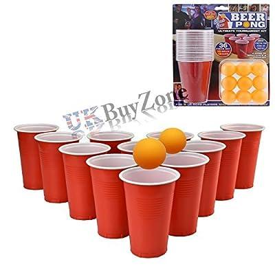 36 Pièces Pong Bière Set Luck Buvable Compétence Jeu Tasses Boules Pub De Fête Ping Pong Amusant