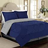 Cathay Home 90 GSM 3-Piece Microfiber Reversible Comforter Set, Full/Queen, Blue/Stone