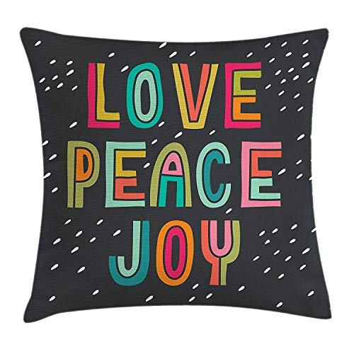 Xl Zitzak Van Sit Joy.Bbabyy Joy Throw Pillow Cushion Cover Multicolor Typography Of Love Peace Joy Saying With Doodle Lettering For Happiness Decorative Square Accent