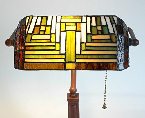 For Sale Bankers Table Lamp Antique Lighting Handmade Tiffany Desk Light Side Unique Home Office Stained Glass Shade Art Deco Traditional Style Large Bedside Resin Base Green Red Beige Colour Bulb Not Included******FREE DELIVERY***** Special