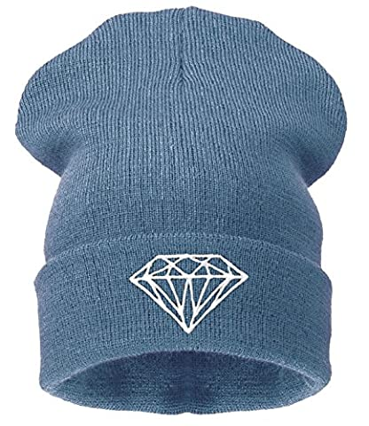 Men's Women's Beanie Hat Winter Warm Black Bad Hair Day Fun oversized hat (Diamond gray)