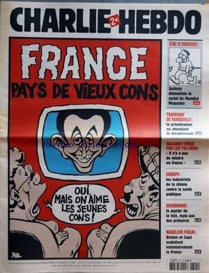 CHARLIE HEBDO [No 701] du 23/11/2005 - FRANCE - PAYS DE VIEUX CONS - ETAT D'URGENCE - SARKOZY DEMANTELE LE CARTEL DE MONDIAL MOQUETTE - TRAMWAY DE MARSEILLE - LA PRIVATISATION EN ATTENDANT LE DERAILLEMENT - BALKANY PIEGE PAR LES YES MEN - IL N'Y A PAS DE MISERE EN FRANCE - EUROPE - LES INDUSTRIELS DE LA CHIMIE CONTRE LA SANTE PUBLIQUE - DIEUDONNE - LE MARTYR DE LA TELE, MAIS PAS DES PRETOIRES - BOUCLIER FISCAL - BRETON ET COPE ENDETTENT VOLONTAIREMENT LA FRANCE.