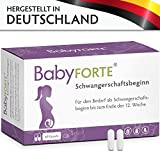 BabyFORTE Schwangerschaftsbeginn bis Ende 12. Woche 60 Kapseln 800 mcg Folsäure, Eisen, Jod & mehr Vegan Vitamine Schwangerschaft