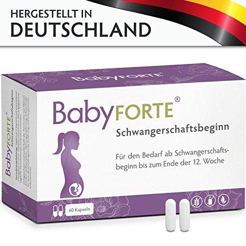 BabyFORTE Schwangerschaftsbeginn • 60 Kapseln • 800 mcg Folsäure, Eisen, Jod & mehr • Vegan • Vitamine Schwangerschaft