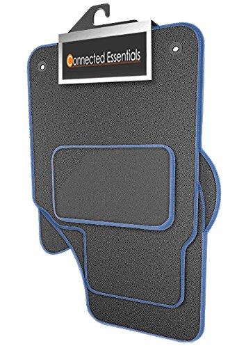Preisvergleich Produktbild Connected Essentials individuell angepasste strapazierfähige Automatten fürKia Sportage (MK 3) 2010 - 2016 - grau mit blauem Rand,4-teiliges Set