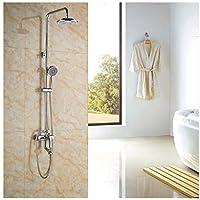 Gowe Gowe Gowe 8-in Rasinfall soffione doccia con doccetta per vasca da bagno Set doccia cromato lucido, montaggio a parete | Stile elegante  | Vinci molto apprezzato  | Delicato  c6ba4c