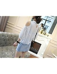 WLG Moda Femenina de Verano, ridícula Camiseta sin Hombros, Marea Suelta para Mujeres,