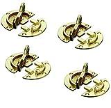 Gedotec Drehriegel Tischbeschlag für Zargentische   Möbelriegel Stahl vermessingt   Dreh-Verriegelung zum Einbohren oder Anschrauben   4 Stück