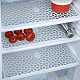 #3: eretailer Plastic Anti-Slip Fridge Drawer Mat (White, 12x17 Inches) - Set of 6