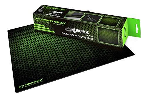 Preisvergleich Produktbild ESPERANZA groß Gaming Mauspad mit GRUNGE Motiv (Größe M, 300 x 240 x 4 mm) im Schwarz-Grün Farbe, Mouse Mat für Optische, Laser und Kugel Maus, Anti Rutsch Gummi