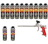 Set pistola de espuma 10Lata 500Ml Espuma de montaje 1K Diseño Espuma de espuma de poliuretano + 2limpiadores + 1pistola de espuma