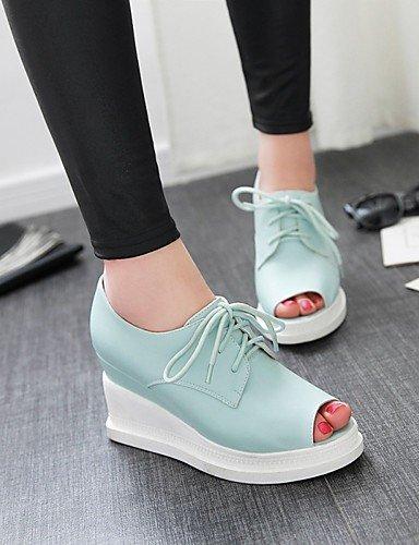 WSS 2016 Chaussures Femme-Habillé / Décontracté-Bleu / Rose / Blanc / Beige-Talon Compensé-Compensées / Bout Ouvert-Talons-Similicuir blue-us5.5 / eu36 / uk3.5 / cn35