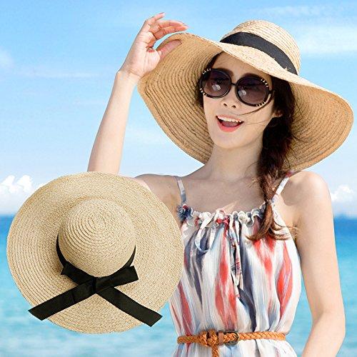 ZHANGYONG*Miss summer resort cappello di paglia femmina Stetson hat spiaggia grande cappuccio lungo il cappuccio visiera isola cappello da sole mare obbligatorio , codice , sia di colore paglierino