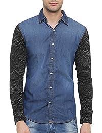SHOWOFF Mens Blue Solid Casual Denim Shirt