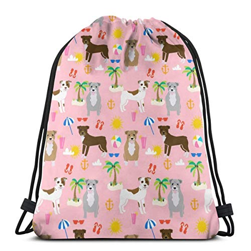 best gift Pitbull Beach Summer Dog Breed_18871 Custom Drawstring Shoulder Bags Gym Bag Travel Backpack Lightweight Gym for Man Women 16.9