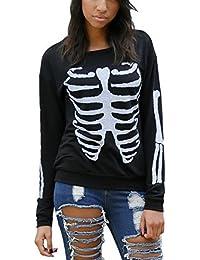 EOZY Sweater Impression Manche Longue Femmes Blouse T-Shirt Noir Col Rond