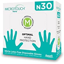 ANSELL MICRO-TOUCH N30 Powder & Latex Free Nitrile Examination Gloves(Made in Malaysia) - Pack of 30 Pcs (Medium)