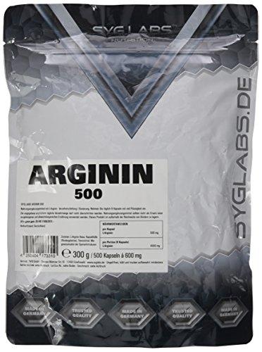 Syglabs L-Arginin hochdosiert - 500 Kapseln, 1er Pack (1 x 300 g)