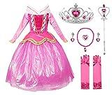 JerrisApparel Vestito Principessa Rosa Costume Vestito da Partito Ragazza Cerimonia (110cm, Rosa con Accessori)