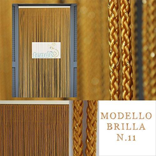 Tenda/moschiera in corda – modello brilla - asta in alluminio - made in italy - misure standard (95x200/100x220/120x230/130x240/150x250) (120x230, caramello 11)