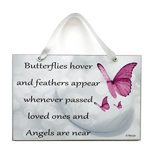 "Engel-Zitat: ""Butterflies Hover and Feathers Appear Angel"" Gedicht von Mary Jac – handgefertigtes Schild, 472 Jac Rose"