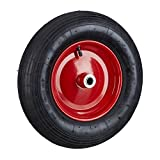Relaxdays Schubkarrenrad 4.80 4.00-8 luftbereift, Komplettrad 200 kg Traglast, Luftreifen m. Ventil, Schwarz-Rot