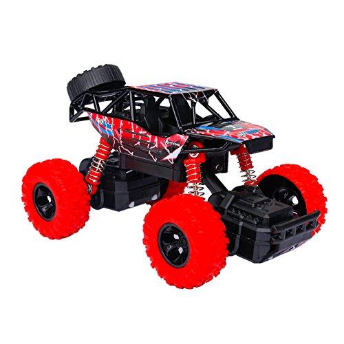Think Wing 4WD Monster Truck Juguete para Niños de 3 Años Camión Monstruo, Alta Velocidad Todoterreno Coche con Luces y Sonidos, 1:32 Escala, Off-Road Car,, Cumpleaños (Estilo 1, Rojo)