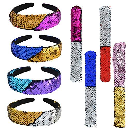 illetten Glitter Stirnband Armband Set Reversible Sparkly Haarband Haarschmuck Meerjungfrau Ohrfeigen Armbänder für Mädchen Frauen Parteibevorzugung ()