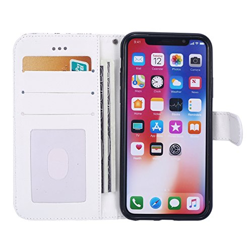 Cover per iPhone X, EUWLY Bello Custodia in PU Pelle Per iPhone X, EUWLY PU Leather Wallet Cover Elegante Design Libro Copertura Magnetico Chiusura Snap-on Book Style Cover Case e Card Slot Protettiva Fiori Gradiente