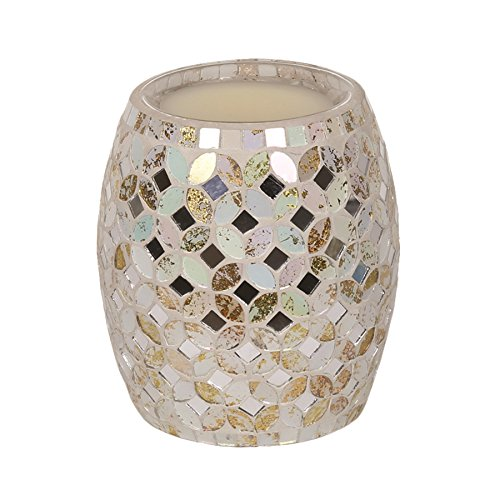 Electric Wax Tart Melt Burner Lamp Cream & Gold Metallic Mosaic Scented Fragrance Aroma Warmer - Hand Crafted